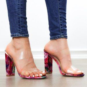Clear Double Band Chunky Heel Slider Sandal